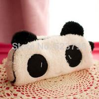 Wholesale Kawaii Plush Fluffy Panda Student Pen Pencil BAG Pouch Case Pack Pendant Cosmetics Beauty Pouch Bag Case Coin Purse Wallet BAG