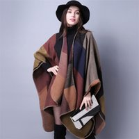Wholesale Europe and the United States super thick warm scarf shawl dual use cashmere autumn and winter style long style cloak