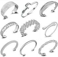al por mayor esterlina de la vendimia pulseras de plata-Pulseras del infinito 925 pulsera del brazalete de los encantos de la manera de la plata esterlina vendimia retra mezcló la joyería de los estilos para el regalo de la Navidad de las mujeres al por mayor