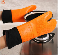 oven mitt gloves - Silicone Microwave oven Mitts Thicking Insulation Cotton Kitchen Cooking Baking Gloves Heat resistant Bakeware Mitts Kitchen Accessories
