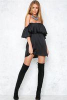 achat en gros de robes de patineur rose-2017021236 Mode automne de la robe de l'épaule Robes pour femmes Nouvelle arrivée Clubwear rose de l'épaule Skater Dres