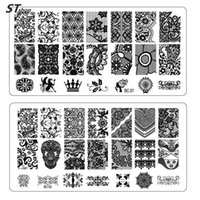 Wholesale NEW Lace Flowers Nail Art Stamp Stamping Image Plate cm Stainless Steel Template Polish Manicure Stencil Tools BC01