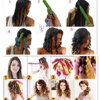 Wholesale 34pcs CM DIY Amazing Magic Leverag Hair Curlers Curlformers Hair Roller Hair Styling Tools Big Size With Comb Brush Clip Elastic PVC Bag