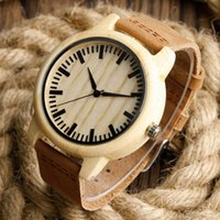 Men's Round 23.5 Fashion Light Hand-made Wooden Watches Made of Bamboo Wristwatch with Leather Band for Men Women relojes de madera