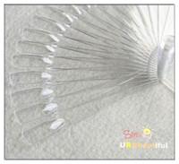 Wholesale set Plastic False Nail Art Tips Stick Polish Display Practice Fan Board tool Natural Transparent Color NAO12