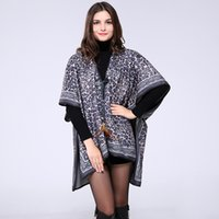 Wholesale 2016 Winter Cashmere Imitation Leopard Print Lady Scarf Geometric Shawl Thicken Warm Blanket Cape Women Wool Blend Matching Pashmina