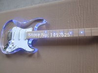 Wholesale new Acrylic body electric guitar fen st electric guitar with blue LED guitar in china