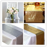 Wholesale 1pcs cm cm Silver Gold Color Sequin Table Runners Sparkly Bling Table Runner Wedding Party Decorations Supply Accessories