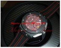 al por mayor negro rojo de la magia-Nuevo rojo de carbono magia limitada 45 mm cuarzo fecha hombres relojes deportivos negro correa de cuero Mens relojes de lujo