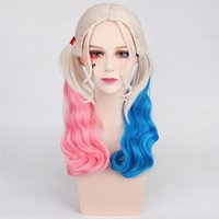 Wholesale 2017 New Hotest Popular movie Suicide Squad Harley Quinn Female Clown Cosplay Halloween Anime Curly Gradient Wigs