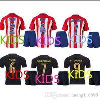 Nuevo 2016 Atletico Madrid Jerseys Jersey 16 17 GRIEZMANN casa lejos F TORRES calidad tailandesa Atletico Madrid fútbol infantil camiseta de fútbol