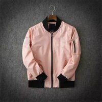 Wholesale Fashion Design Mens Baseball Uniform Coats Pink Embroidery Print Thin Outwear Pilot Jacket for Spring and Fall