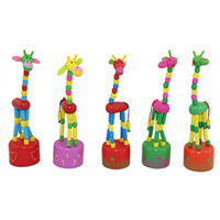 Wholesale 18cm Baby Funny Wooden Toys Developmental Dancing Standing Rocking Giraffe Animal Handcrafted Toys Multi Color