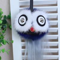 Wholesale Genuine Fur Pompom ball Keychain Fluffy Fox Fur Keyring Owl Bird Toy Doll Pendant Monster Dolls Bags Ring