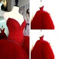 Wholesale New Red Ball Gown Quinceanera Dresses Real Modest Sweetheart Beaded Crystal Puffly Tulle Prom Party Girls Pageant Dresses For Sweet