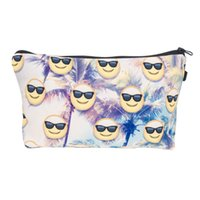 beach wallet - 2017 Fashion Makeup Bag Wallet Emoji Sunset Beach Cosmetics Bag Travel Bag neceser mochila bolsa feminina Handbag organizer Makeup Pouch