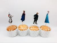 al por mayor topper reina-La reina Esla Anna de la nieve de la venta al por mayor-Caliente 24pcs de la torta de la magdalena de los pasteles de la magdalena de los remolques de la torta de la torta de la nieve de los ...
