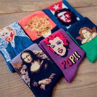arts vangogh - D Fashion Art Cotton Crew Socks of Painting Character Pattern for Women Men Harajuku Design Sox Calcetines VanGogh