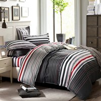 Wholesale grey and red stripes printing pc bedding set queen bed Duvet Quilt Comforter covers bedclothes pillow shams sets cotton