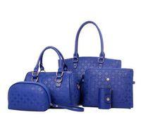 Acheter Beige boston sacs-4pcs Femmes Bag Set Mode Brand Design Femmes Totes Embossed en cuir de luxe Boston Sac Messegner Bag 4Colors