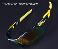 achat en gros de cadre jaune lunettes de soleil femmes-Hommes Freeshipping Polarized Sport Lunettes de soleil Cyclisme Lunettes de soleil avec 5 lentilles, Transangerant Gris et Jaune Cadre
