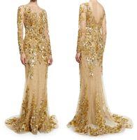Wholesale gold wedding dresses long sleeves zuhair murad wedding gowns illusion beaded bateau neckline mermaid bridal dresses
