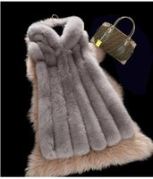 Wholesale 2017 New Fashion Women Vests with Hooded Collarr Warm Faux Fur Vest Slim Short Casual Women Outerwear with Zipper Jackets FS0971