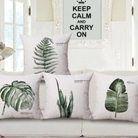 Wholesale green leaf cushion cover rural nature plant almofada indoor outdoor leaves home decor modern throw pillow case cojines