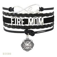 10 PCS / Lot) Infinity Love Fire Maman Fire Wife Metal Charm Wrap Bracelets Suede Cuir personnalisé Tous les thèmes Drop Shopping