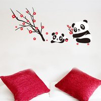 Wholesale cute panda wall sticker tile sticker home decorative sticker Chinese Spring Festival plum blossom enviromental removable