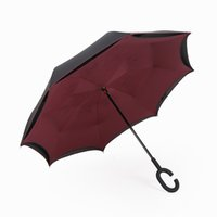 Wholesale Creative Inverted Umbrellas Double Layer With C Handle Inside Out Reverse Windproof Umbrella Long Hand Umbrella For Car Many color