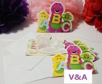 barney party invitations - New Dinosaur Barney Friends Cartoon Kid Baby Birthday Party Decoration Supplies Favors Invitation Cards