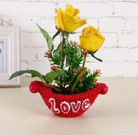 Wholesale Artificial flower with pot gift Valentine s gift Christmas gift