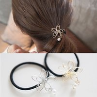 Wholesale Women scrunchy Rhinestone Hollow Flower Pearls Hair Ponytail Headband Hair Accessories Lady Elastic Hair Band