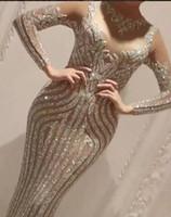 al por mayor vestidos de zoe-Vestido de noche Yousef aljasmi Charbel zoe Cristal de manga larga Cariño Hind-bh Kylie Jenner Kim kardahisn Zuhair murad Vestido de celebridad