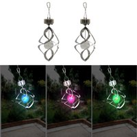 ball wind spinner - LED Solar Wind Chime Light Solar Hanging Lights Wind Twirling Solar Lanterns Colorful RGB Color Changing Mosaic Crack Ball Spiral Spinner