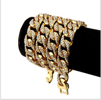 Wholesale Iced Out Men s Hip Hop Necklace Gold Plated Full Of Rhinestone CZ Stone Miami Cuban Necklace Bracelet Set For Men Women