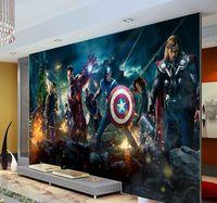 Wholesale 2017 Fashion Custom photo wallpaper Tapete The Avengers Hulk Captain Americ Thor Photo Wall Mural Kids room Nursery Wallpaper
