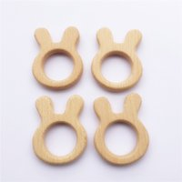 achat en gros de bois de lapin-Chenkai Organic Rabbit Baby Wood Teether Dentition naturelle Tricot Toy Baby Bunny Hêtre non fini Wooded Teether Bricolage Nouveau-né Baby Gift