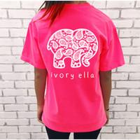 Белых слонов Цены-2017 Новое лето Ivory Элла Футболка Женщины Топы Ти 8 размер черный белый слон животное футболка с коротким рукавом Свободные топы Harajuku