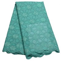 Wholesale Teal African swiss voile lace high quality wedding lace African Fabric Yards Cotton Swiss Voile Lace XY382B