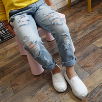 Wholesale New Ripped Jeans For Kids Casual Regular Girls And Boys Unisex Jeans Fille Enfants Jeans