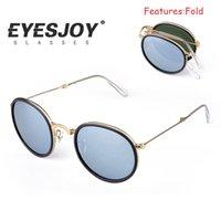 aluminum fram - 2016 Top Quality Summer Pilot Sunglasses for Men Women Gafas de sol oculosQuality Rey band Sunglasses Metal Folding Fram