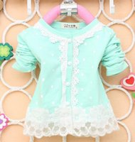 Wholesale Summer Korean girls covered dot lace long sleeved Cardigan Coat