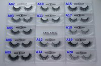 achat en gros de 1 paires-13-16mm 1 paire / boîte OEMPrivate Logo Acceptable Real 3D Mink Hair Fur Eyelashes Messy Eye Lash Extension Sexy Eyelash Full Strip Eye Lashes