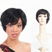 Celebrity Short Hairstyles Machine Made Lace Front Cheveux Humains Perruques Natural ondulé brésilien Cheveux Humains Perruque Avec Cheveux Bébé