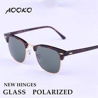 al por mayor polariza de gafas de sol-Gafas de sol polarizadas de cristal de la mejor calidad de AOOKO Nuevas bisagras gafas de sol dominantes de los hombres de los hombres Gafas de sol antideslumbrantes rectas de la protección UV 51mm 49m m