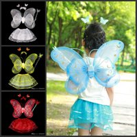 angle fairy - 4 Pieces Children Halloween Costume Set Double Layer Angle Butterfly Fairy Wings Magic Wand Headband Birthday Party Gifts