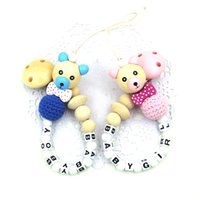 baby gifts personalized for boys - NEW Wooden Bear beads bow tie personalized pacifier for baby natural crochet wood beads baby boy baby girl birth gift toy NT211