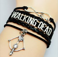 american walk - 3 Styles Infinity Charm Bracelets Sports Multilayer Woven Leather Bracelets Antique Cross Anchor Walking Dead Character Diy Charm Bangles